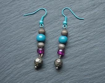Blue, Purple, Silver & Bronze Antique style Beaded Earrings