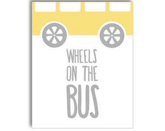 Wheels on the Bus Nursery Printable - Yellow