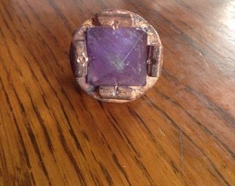 Purple Amethyst pyramid copper ring