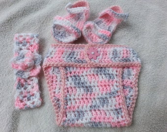 Sweet Diaper Cover, Headband & Shoes