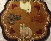 "OOAK Buttermilk Basin's ""February"" folk art penny mat 100% wool"