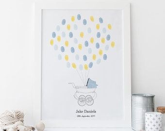 New Baby Fingerprint Art - Vintage Pram (Baby Boy) PRINTABLE *DIGITAL FILE*