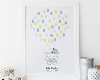 New Baby Fingerprint Art - Vintage Pram (Baby Boy)