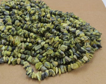 """Yellow """"Turquoise"""" Chips (jasper/serpentine), Natural Olive and Forest Green Chips, 34 Inch Strand, Green Gemstone Chips, Item 573gs"""