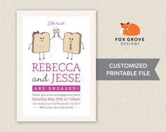 Let's Toast! printable engagement party invitation / Customized digital file (5x7) / Printing services available in U.S.