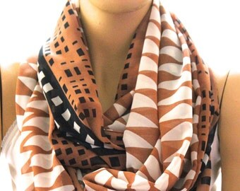 geometrical shapes printed  infinity scarf. Loop scarf. Circle scarf. Women Scarf. Gift. Scarves mother's day gift. Brown White Black scarf