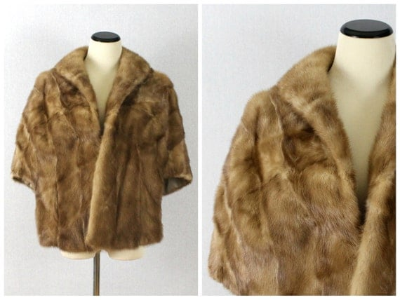 Honey Mink Cape - 50s Mink Fur Stole - Vintage 1950s Light Brown Fur Jacket - Fur Coat