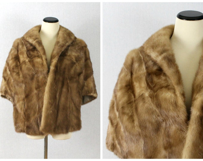 Honey Mink Cape - 50s Mink Fur Stole - Vintage 1950s Light Brown Fur Jacket - Fur Coat