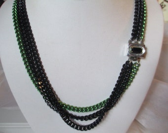 Necklace Black and Green Metal Long Triple Strand Multistrand Necklace Fancy Clasp w Rhinestone Vintage