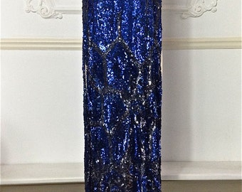 1920s Ocean Blue and Black Sequin Dress (Tabard)
