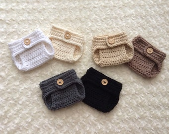 Crochet Newborn Diaper Cover - MADE TO ORDER - Neutrals