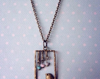 Little bird necklace with frosted seed beads