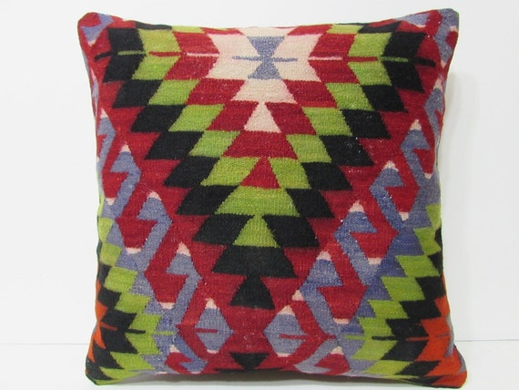 Turkish cushion 24x24 throw pillow kilim by DECOLICKILIMPILLOWS