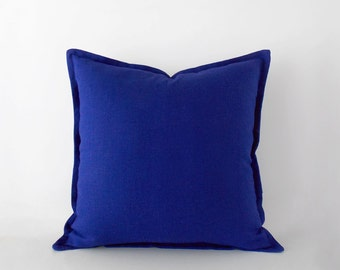 Cobalt blue linen pillow cover with a flange in 20x20 inches / 50x50 cm, last pieces