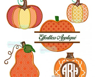 Five Pumpkins Set Applique Designs