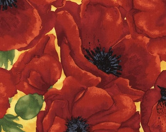 Poppy fabric with large rust colored  poppies and a gold background.