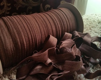 """10 Yards BROWN Fold Over Elastic Foe 5/8"""" - Emi Jay Inspired Material DIY Hair Ties & Headbands Soft Stretchy No Pull Fabric"""