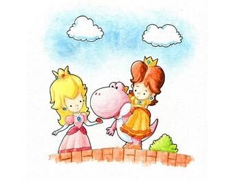 Princess Peach, Daisy, and Pink Yoshi