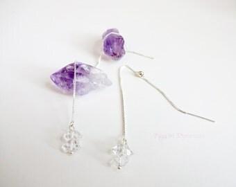 Double Hearkimer Diamond Sterling Silver Threader Earrings with Backs, Herkimer Diamond Threaders, Double Herkimer Diamond Silver Threaders