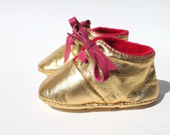 12-18 Months Slippers / Baby Shoes Lamb Leather Glitter Dore Golden Pink