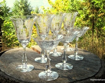 Tiffan-Franciscan Cherokee Rose #17403 - 1950s Etched Glasses - Water Goblets and Tall Champagne Glasses -