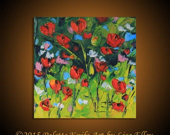 SALE, Poppy Painting, Floral Art, Red Poppies, Wildflowers, Impasto Art, Flower Artwork,bright Colors and Texture, Original Oil, 6x6