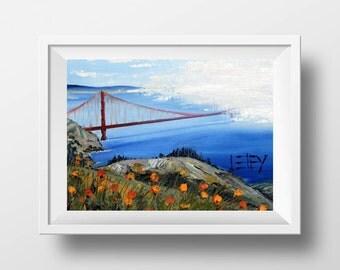 Golden Gate Bridge, San Francisco Art Print, Signed Giclee Fine Art Archival Open Edition Print, Original Oil Painting by Artist Lisa Elley