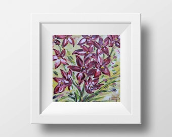 Orchid Print, Orchid Art, Orchids, Giclee Flower Print, Flowers, Floral Print, Floral, Flower Art, 10x10, 12x12, Signed Print of Painting