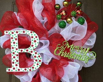 Merry Christmas Initial Wreath