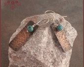 Hammered Copper and Turquoise Dangle Earrings, Free Shipping