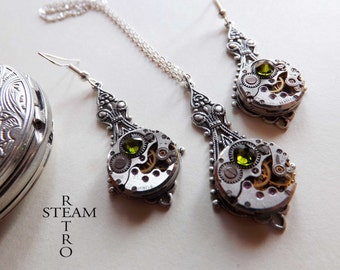 10% off sale16  Steampunk Jewelry set in filigree Green - Steampunk wedding set - Steampunk Necklace & Earrings - Christmas gift