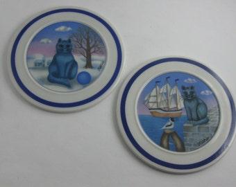 "Arzberg Germany. 2 porcelain miniature collection plate ""Kathia's cats"". Artist: Kathia Berger. Collectibles. VINTAGE"