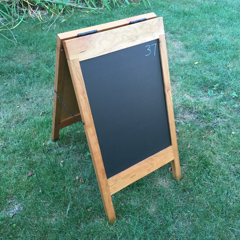 sidewalk sign sandwich board sign solid cherry chalkboard. Black Bedroom Furniture Sets. Home Design Ideas