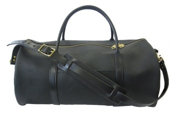 Duffel Bag - Black Leather  - Amish Made - Full Grain Leather - Weekend Duffle Bag - Men's Luggage - Leather Bag - Carry On Bag - Flight Bag