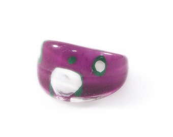 White, Green and Purple Polka Dot Lucite Ring - Size 7