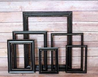 Custom Black Shabby Frame Set Distressed Frames with Glass Backing