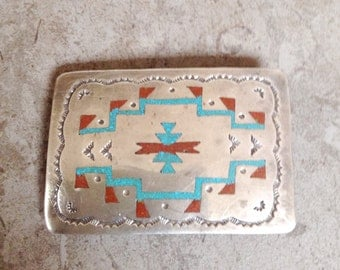 Native American Vintage Navajo Hand Stamped Inlay Turquoise Pipestone Sterling Belt Buckle - H B