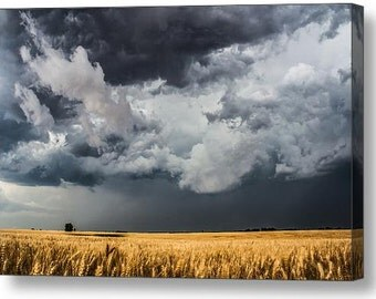 Fine Art Canvas, Kansas Fields, Gallery Wrap, Canvas Gallery Wrap, Landscape Canvas, Fine Art Nature, Wheat Fields, Cloud Photography