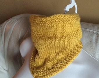 50%OFF, Weekend Sale,  Mustard knit cowl, knit scarf, knit neck warmer