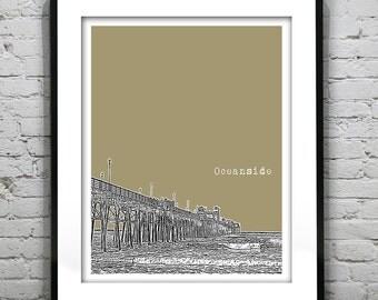 Oceanside California Poster Art Skyline Print CA Pier