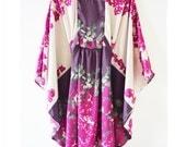Fuchsia pink purple beige silk caftan kaftan summer dress flowy dress S/S 14 LAST PIECE