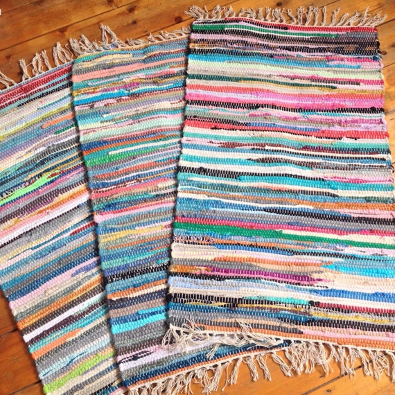 Rag Rugs Indian: Fair Trade Indian Stripey Chindi Rag Rug Bath Mat By