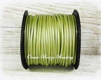 2mm Leather Cord . 9 feet . Metallic Lime Green