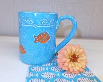 Sky Blue Ceramic Coffee Mug with Goldfish