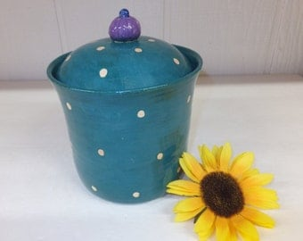 Teal  Polka Dot Kitchen Canister with Purple Knob