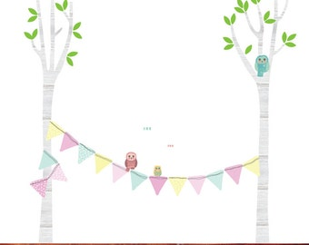 Tree Fabric Wall Decals - Owl Decals
