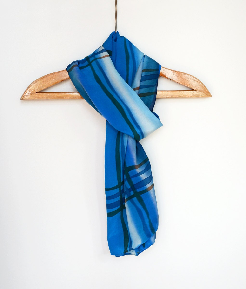 Mens Silk Scarf Blue scarf for men Blue men scarf Mens