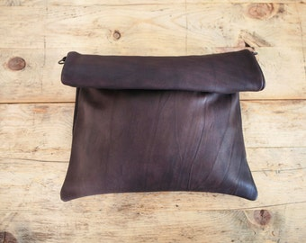 Leather ROLL CLUTCH // Woman Leather bag // Brown leather tote bag // shoulder leather handbag // Roll bag