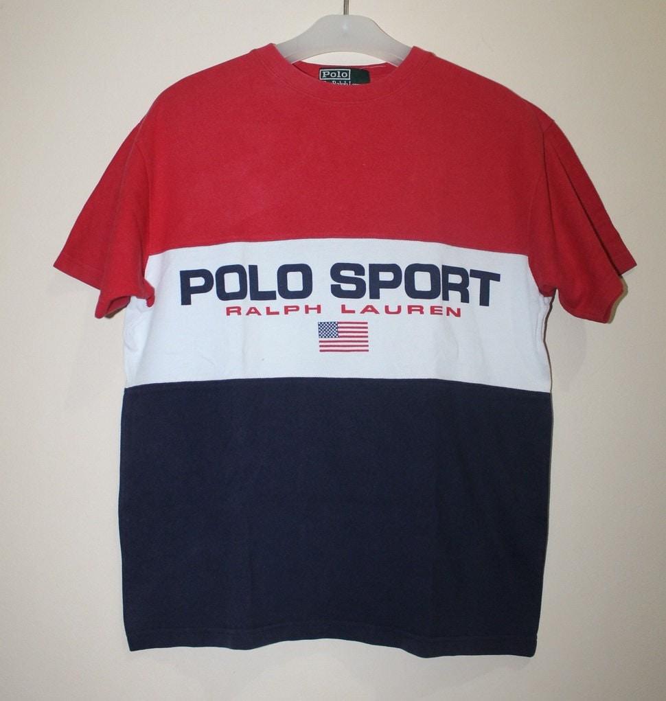 9d1c1c5d6 Vintage Polo Sport Ralph Lauren Spell Out USA Flag T-Shirt Ski Stadium