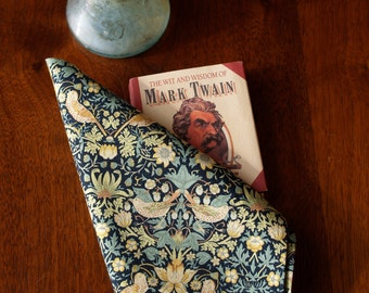 "Handstitched Liberty of London Green, Aqua & Gold  William Morris ""Strawberry Thief"" Pocket Square/Handkerchief"